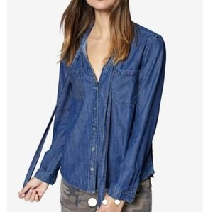 Sanctuary Chambray Denim Button Up with Tie Neck